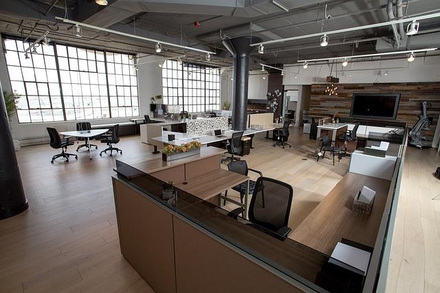 kancelář, stoly, žile, otevřený prostor