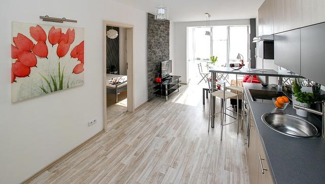 moderní kuchyně, obraz, červené květiny