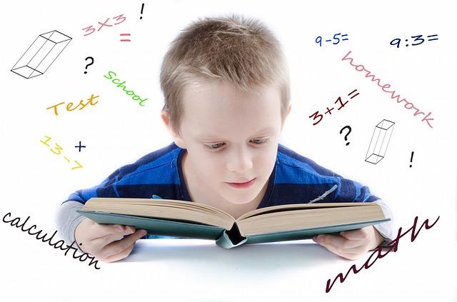 kluk s učebnicí